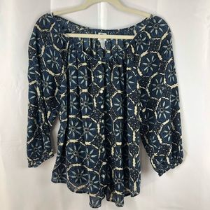 Lucky Brand Boho Peasant 3/4 sleeve top Size Small